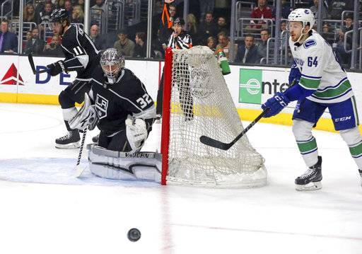 Vancouver Canucks center Tyler Motte (64) skates behind Los Angeles Kings goalie Jonathan Quick (32) in the first period of an NHL hockey game in Los Angeles, Monday, March 12, 2018.