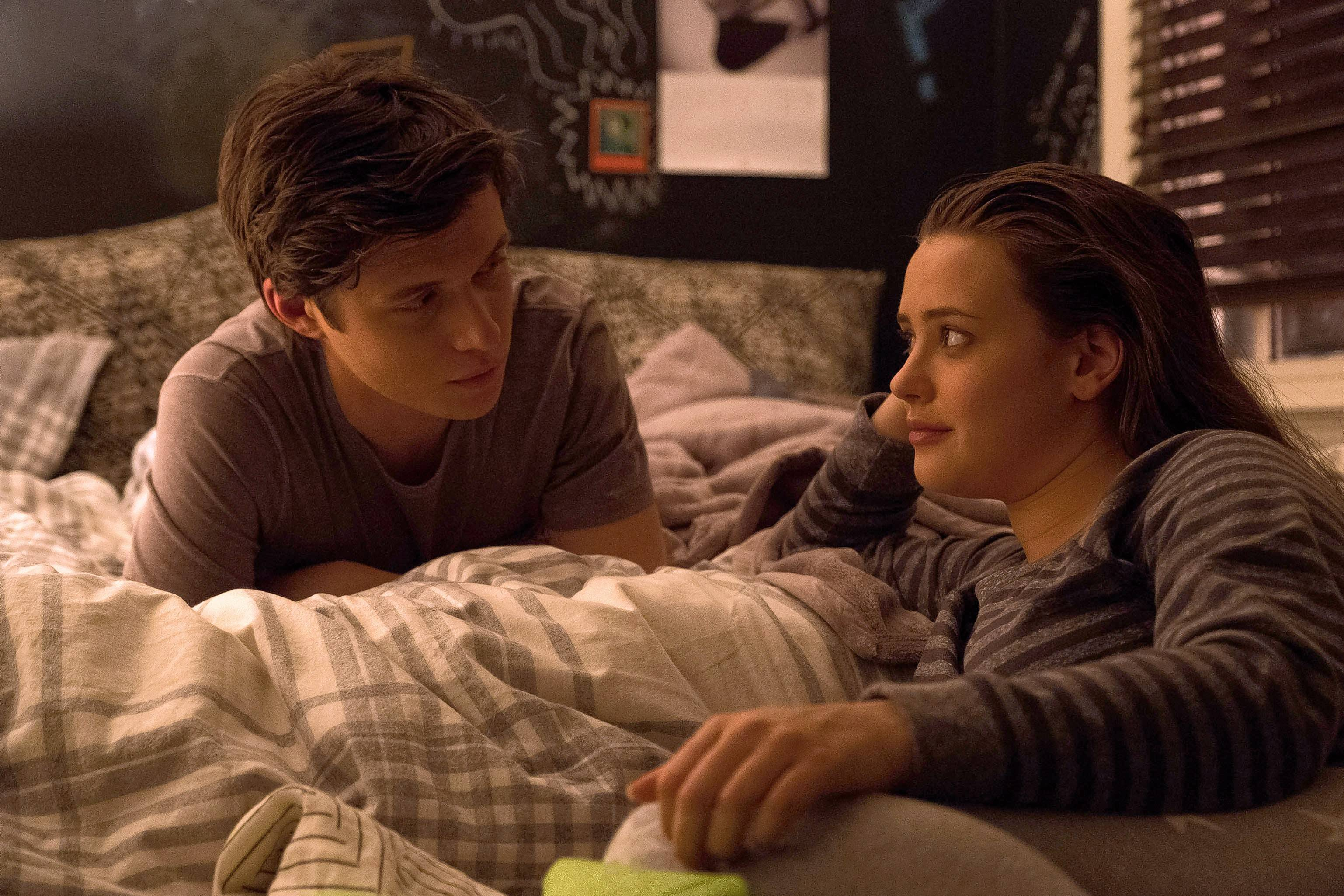 "Leah (Katherine Langford) carries a torch for her classmate Simon (Nick Robinson), never suspecting his romantic interests do not include her in ""Love, Simon."""