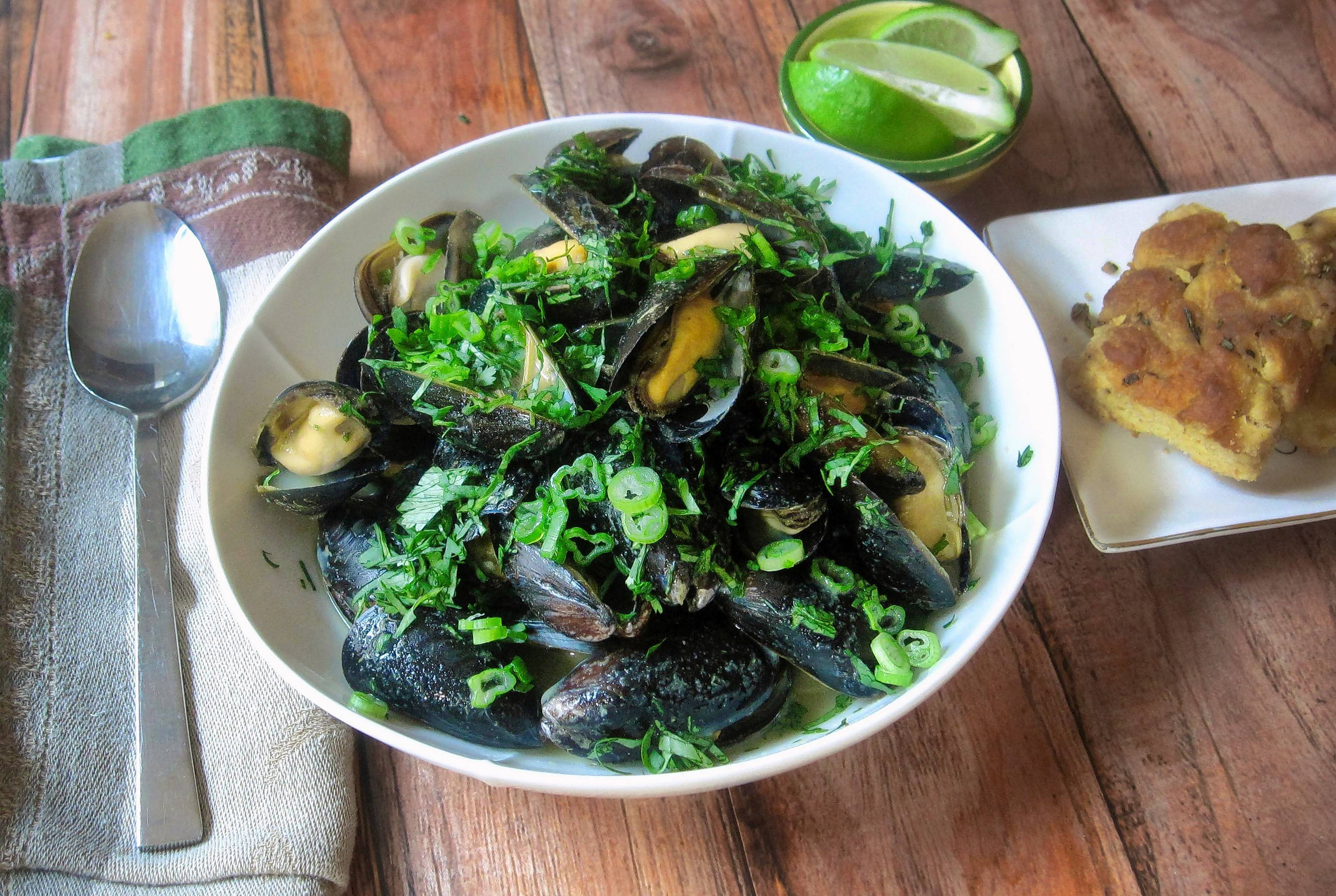 Steamed mussels with Thai flavoring, here, are all dressed in green for St. Patrick's Day.