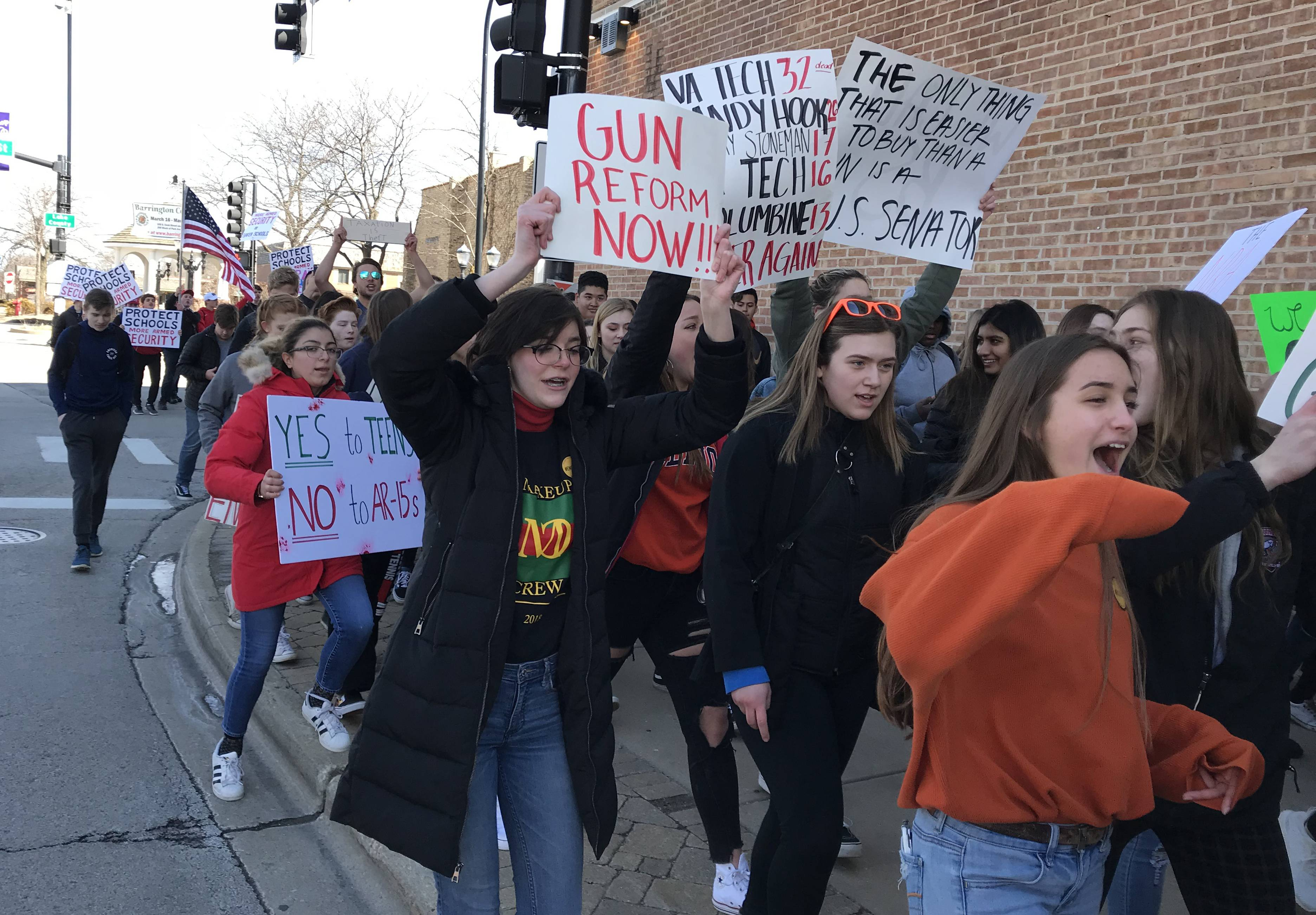 'We are young, and we are strong': Suburban teens join walkout against gun violence