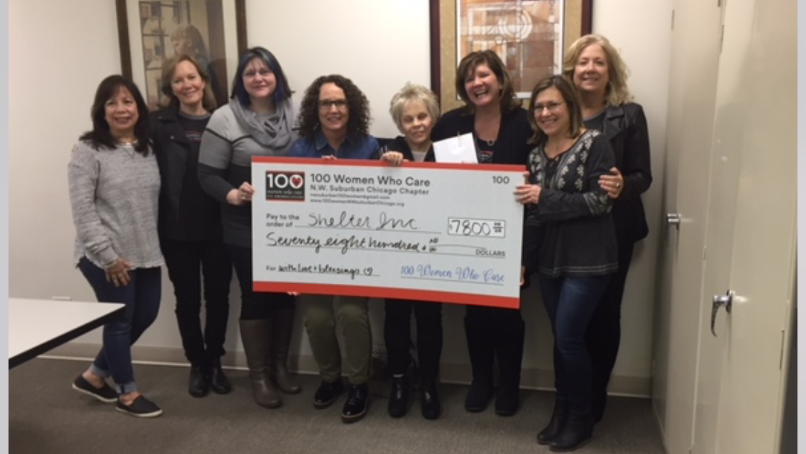 Presentation of check to Shelter,Inc. From left to right  Jane Latko, Margaret Lynn,Mary Green, Marcey Kolb, Carol Brown, Cindy Alton, Leah  Gazaglis, Janice CobeTaken  March 1, 2018 at Shelter Inc. OfficeBarb Mazursky
