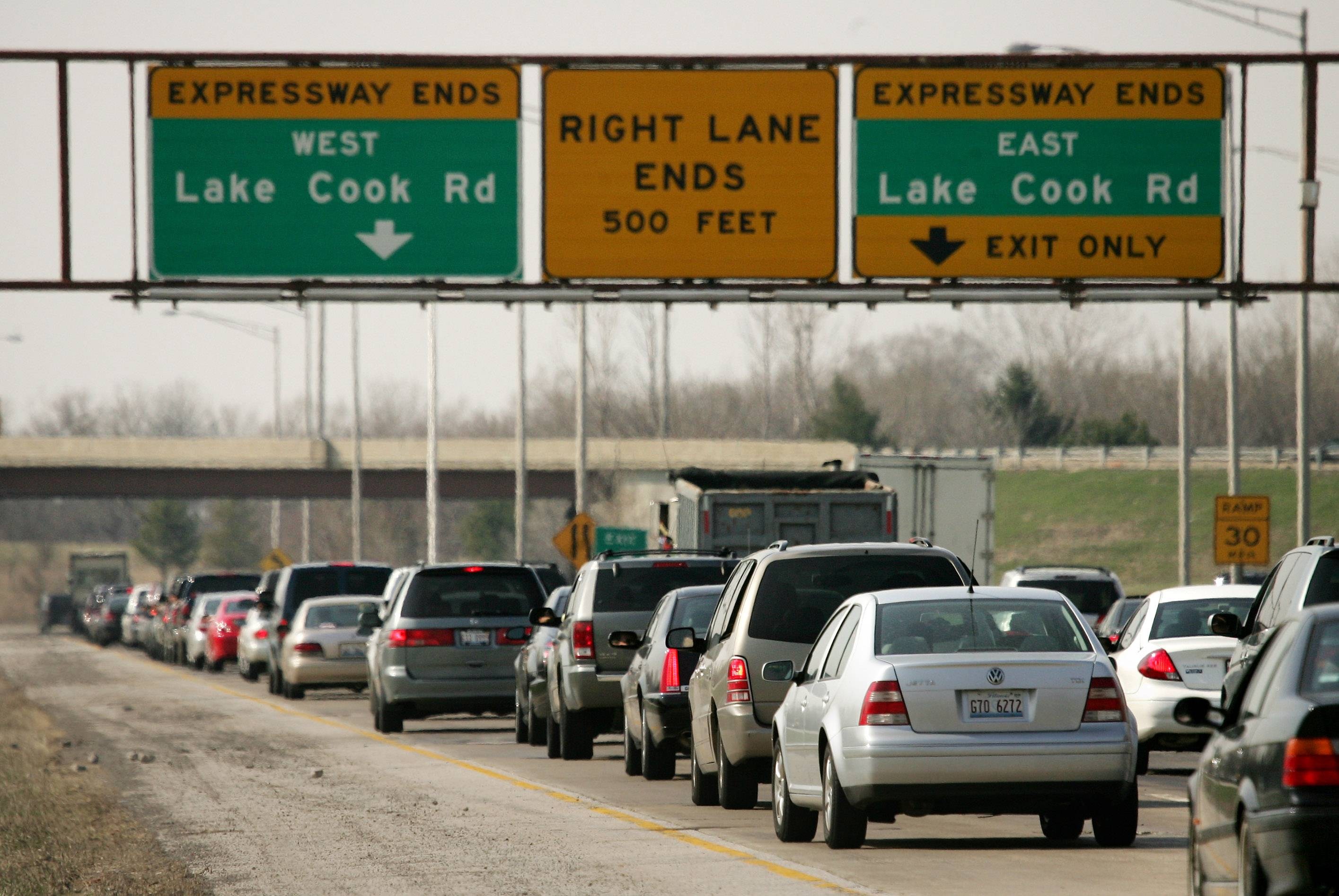 Afternoon traffic backs up on northbound Route 53 approaching the end of the expressway at Lake-Cook Road. An extension into Lake County is part of a new study called the Tri-County Access project that will focus on a range of alternatives to move traffic.