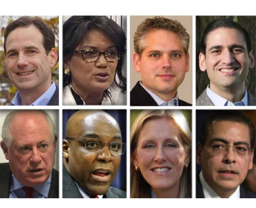 From upper left, Scott Drury, Sharon Fairley, Aaron Goldstein, Renato Mariotti, and from lower left, Pat Quinn, Kwame Raoul, Nancy Rotering and Jesse Ruiz are Democrat candidates for Illinois attorney general.