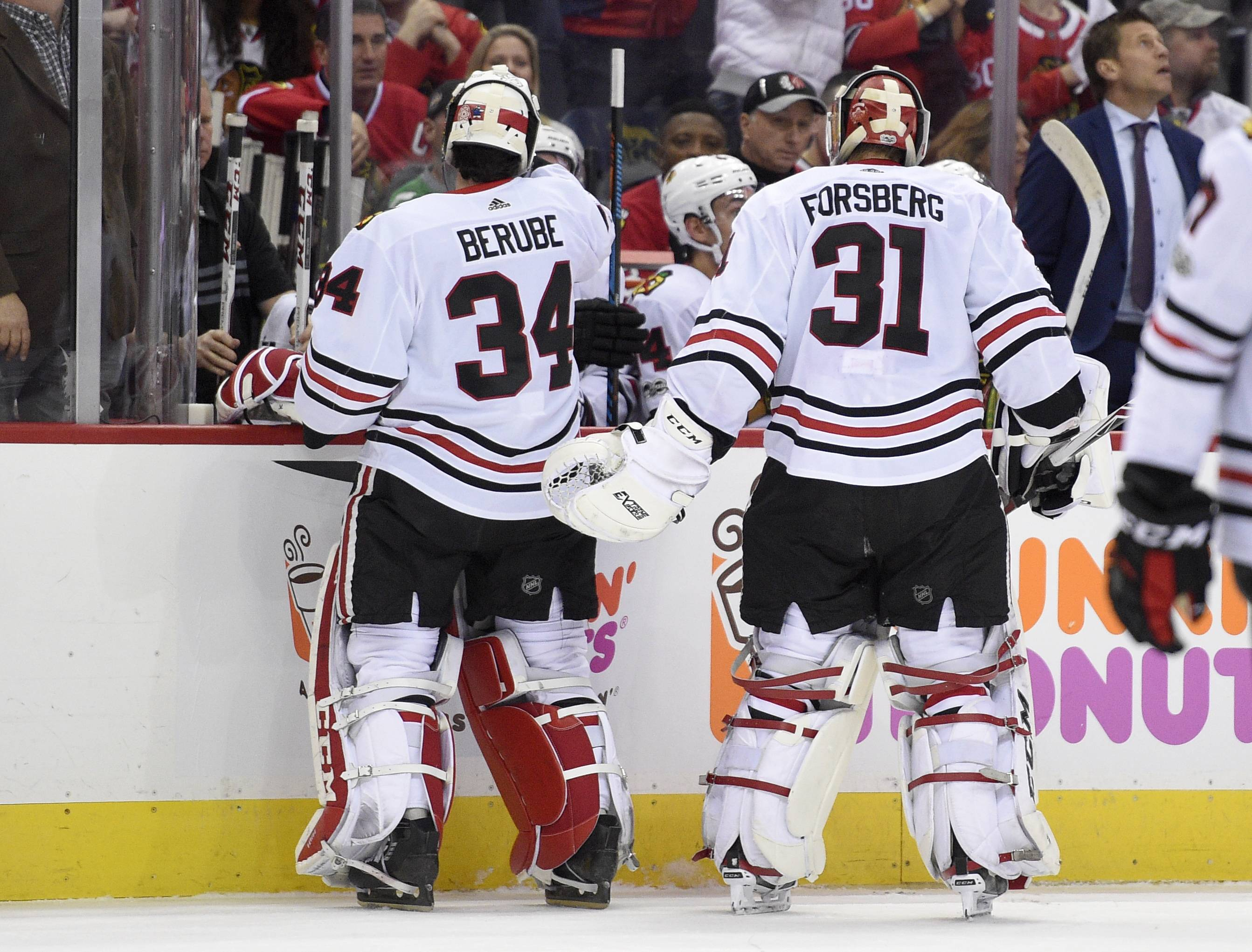Both Anton Forsberg (31), and J-F Berube have a lot to prove to the Chicago Blackhawks over the final 11 games of the regular season. Assuming Corey Crawford is 100 percent healthy next season, just one of the two goalies will be named as Crawford's backup.