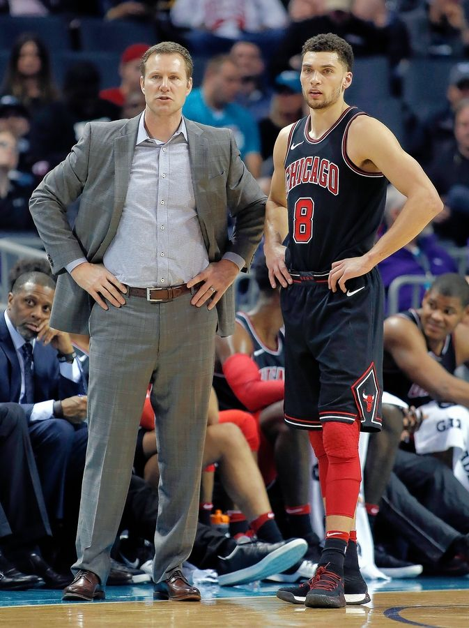 Chicago Bulls' Zach LaVine, right, sat out Saturday's game vs. Cleveland due to soreness in his knee. Starters Kris Dunn and Lauri Markkanen also were out with injuries.