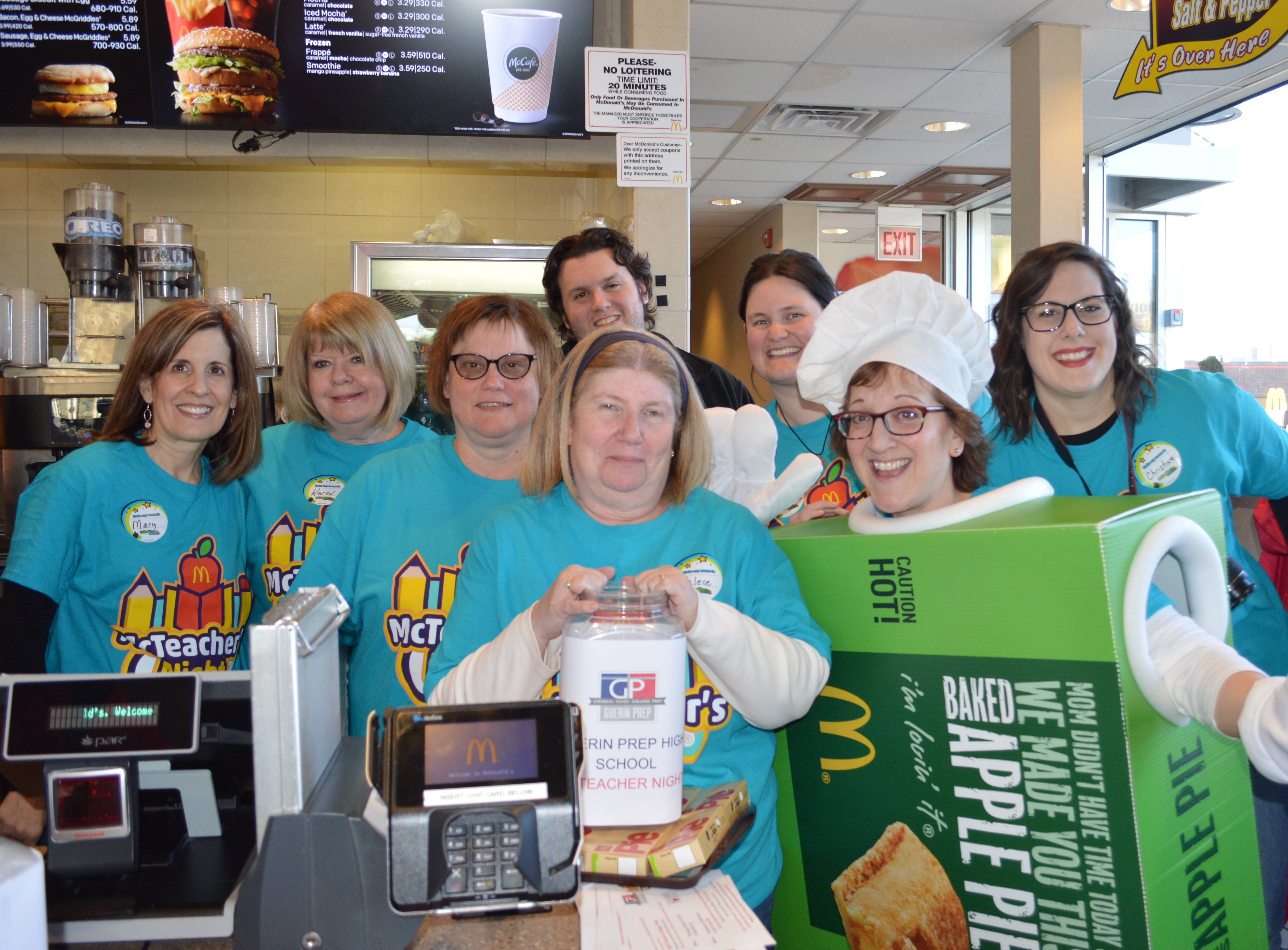 Guerin Prep teachers ready to work hard at the Rosemont McDonald's.Julie Travers