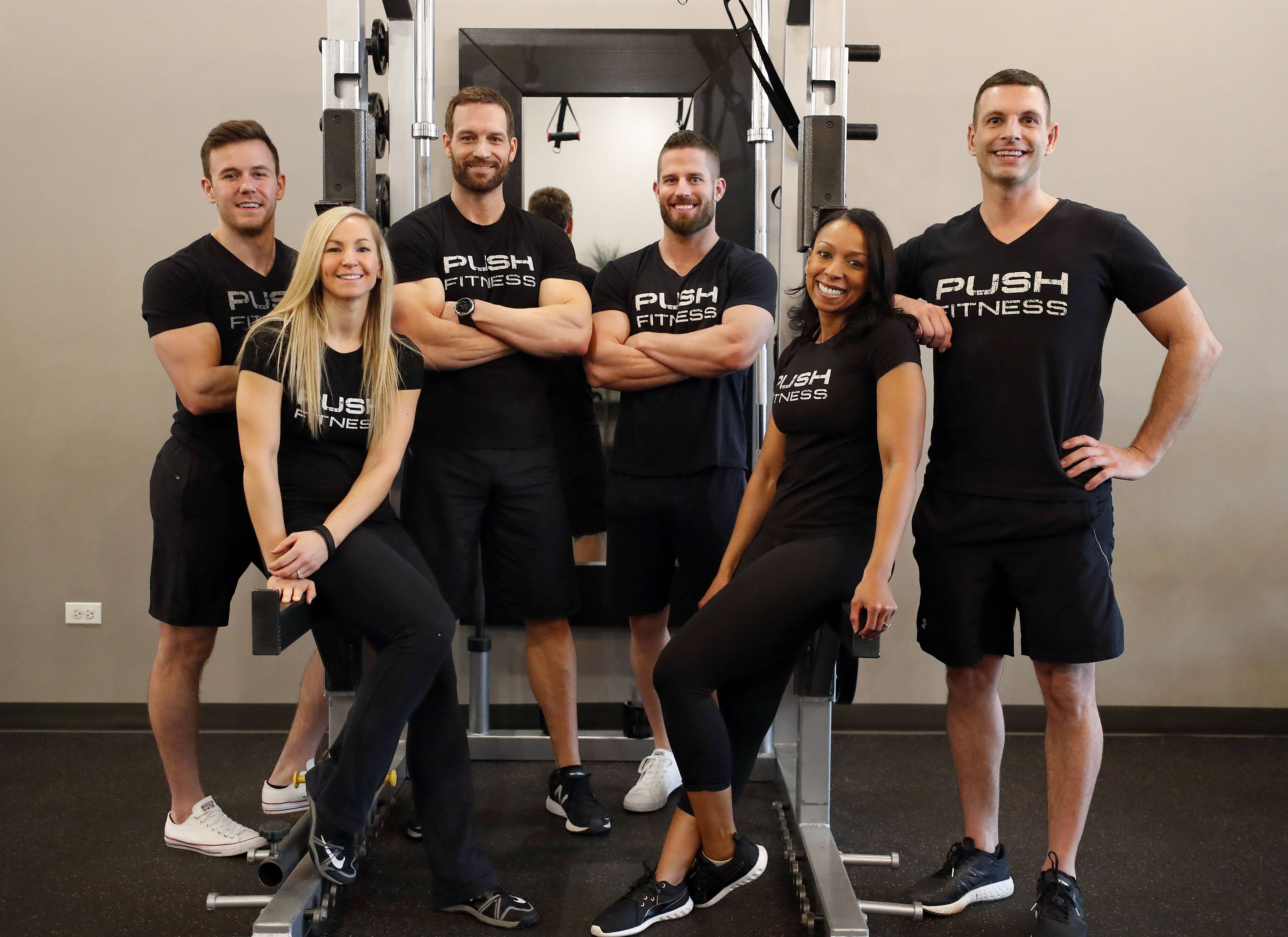 Fittest Loser trainers Patrick Stille, from left, Nicole Steinbach, Joshua Steckler, Mick Viken, Michelle Jeeninga and Steve Amsden.