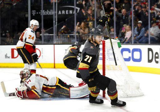 Karlsson S Hat Trick Helps Vegas Beat Flames 4 0