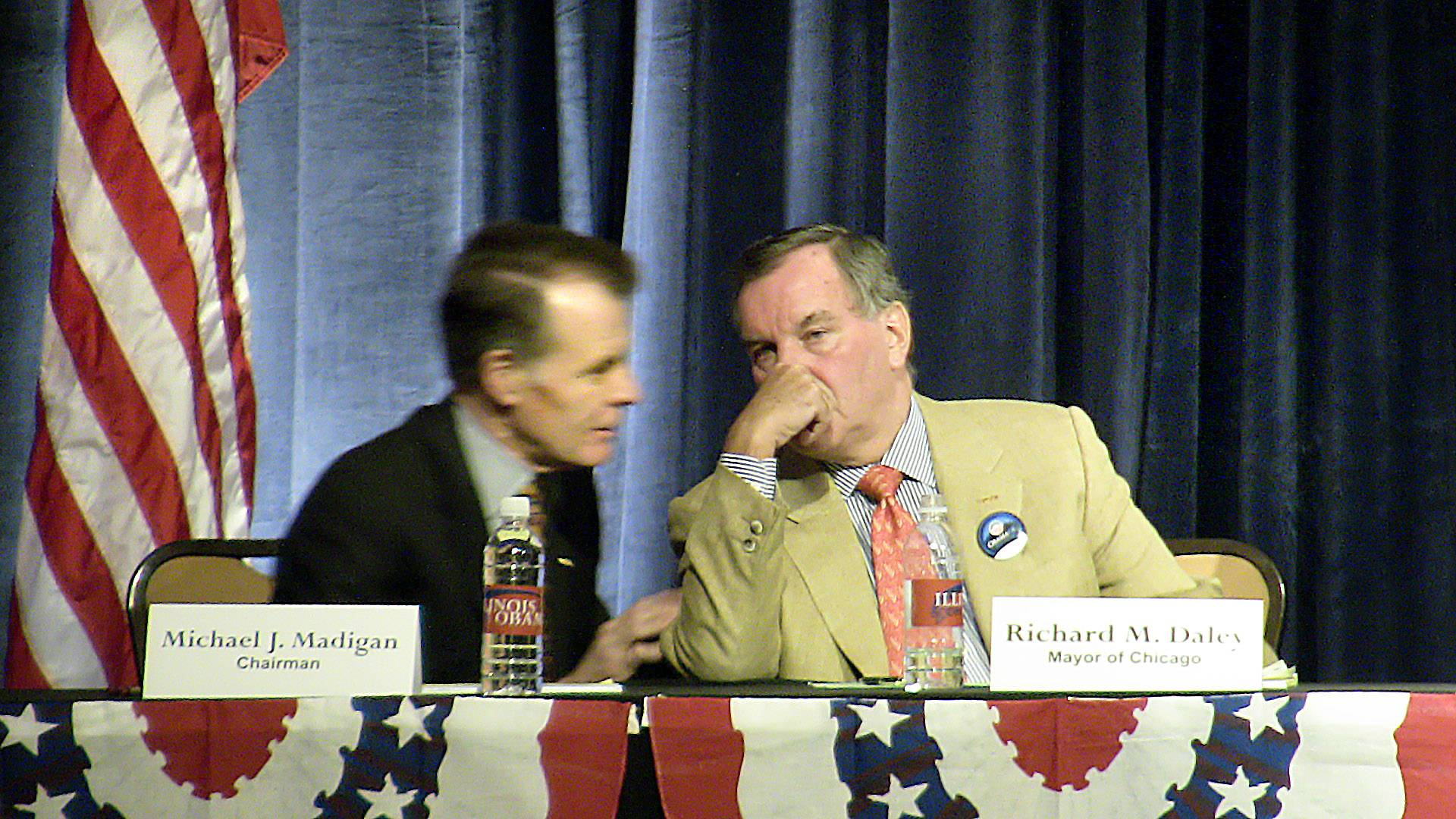 JOHN STARKS/jstarks@dailyherald.com, 2008Illinois House Speaker Michael J. Madigan and Chicago Mayor Richard M. Daley talk at an Illinois delegate meeting during the 2008 Democratic National Convention in Denver.