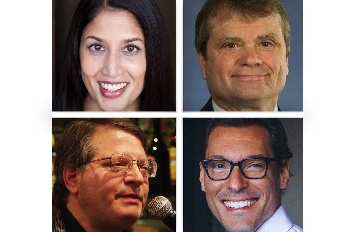 Upper from left, Sameena Mustafa and Mike Quigley and lower from left, Steven Schwartzberg and Benjamin Thomas Wolf are Democrat candidates for the 5th Congressional District.