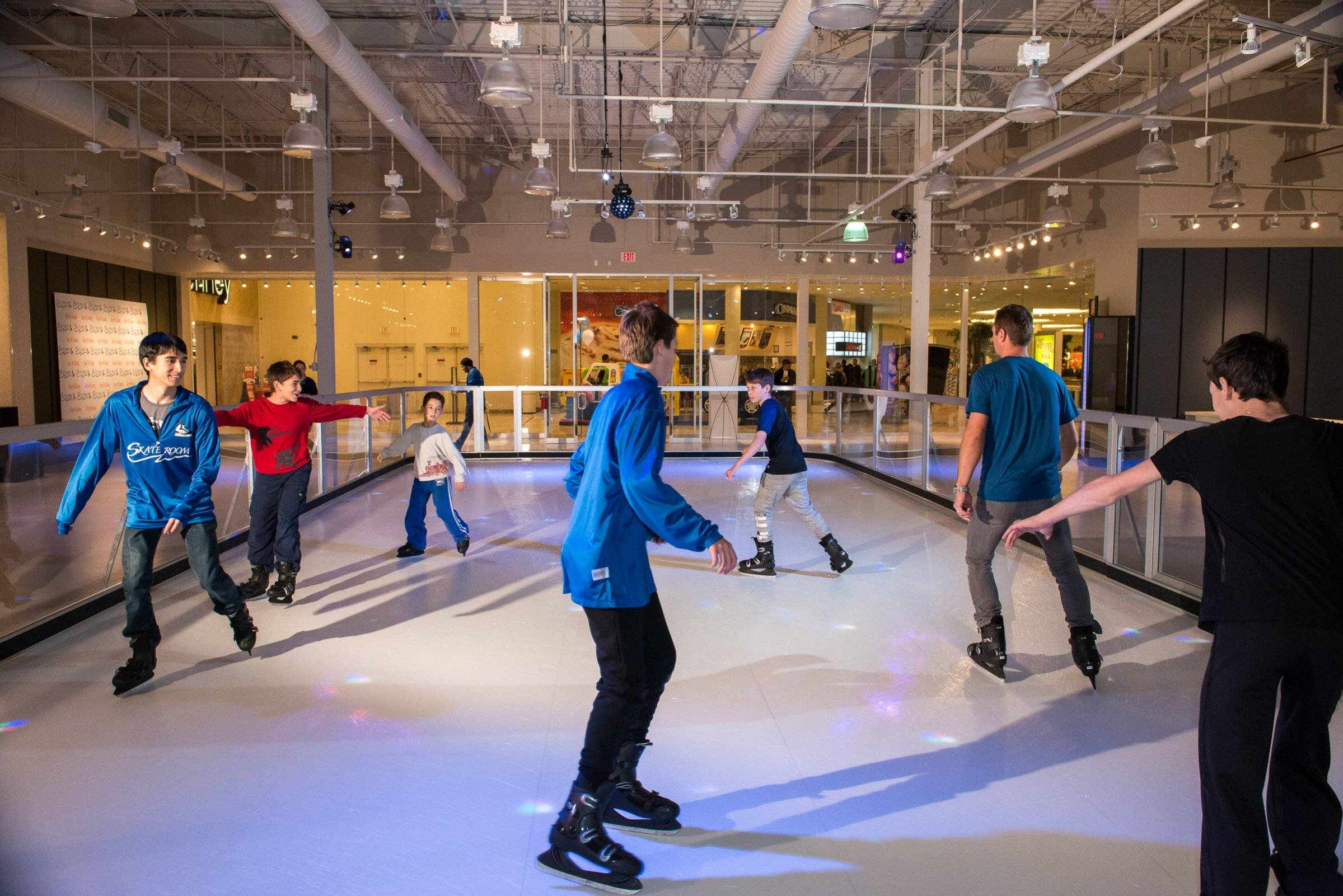 Skaters at the new Skate Room ice skating rink in Hawthorn Mall enjoy open skating, private and group lessons, and celebrating birthday parties and other occasions and special events. Skate Room
