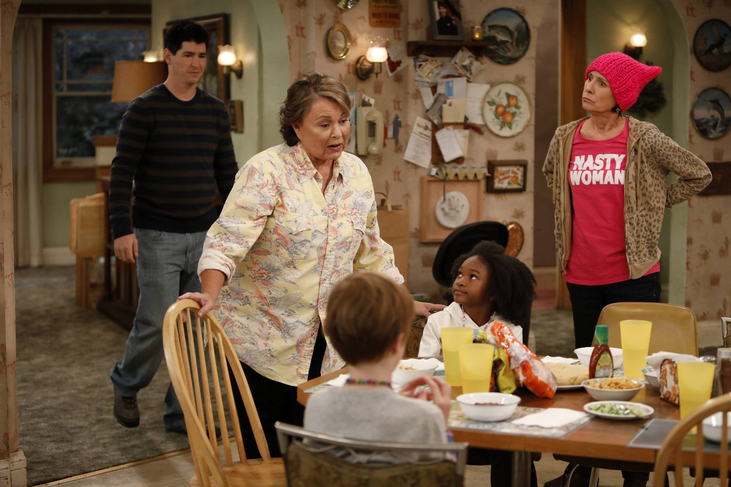 "Roseanne finds herself at political odds with her sister, Jackie (Laurie Metcalf) in the re-booted ""Roseanne,"" premiering March 27."