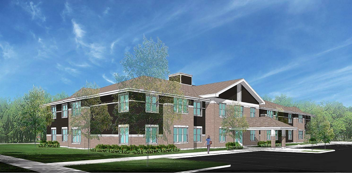 A rendering shows a proposed two-story, 18-unit supportive housing development at 120-122 E. Boeger Drive for people with disabilities.