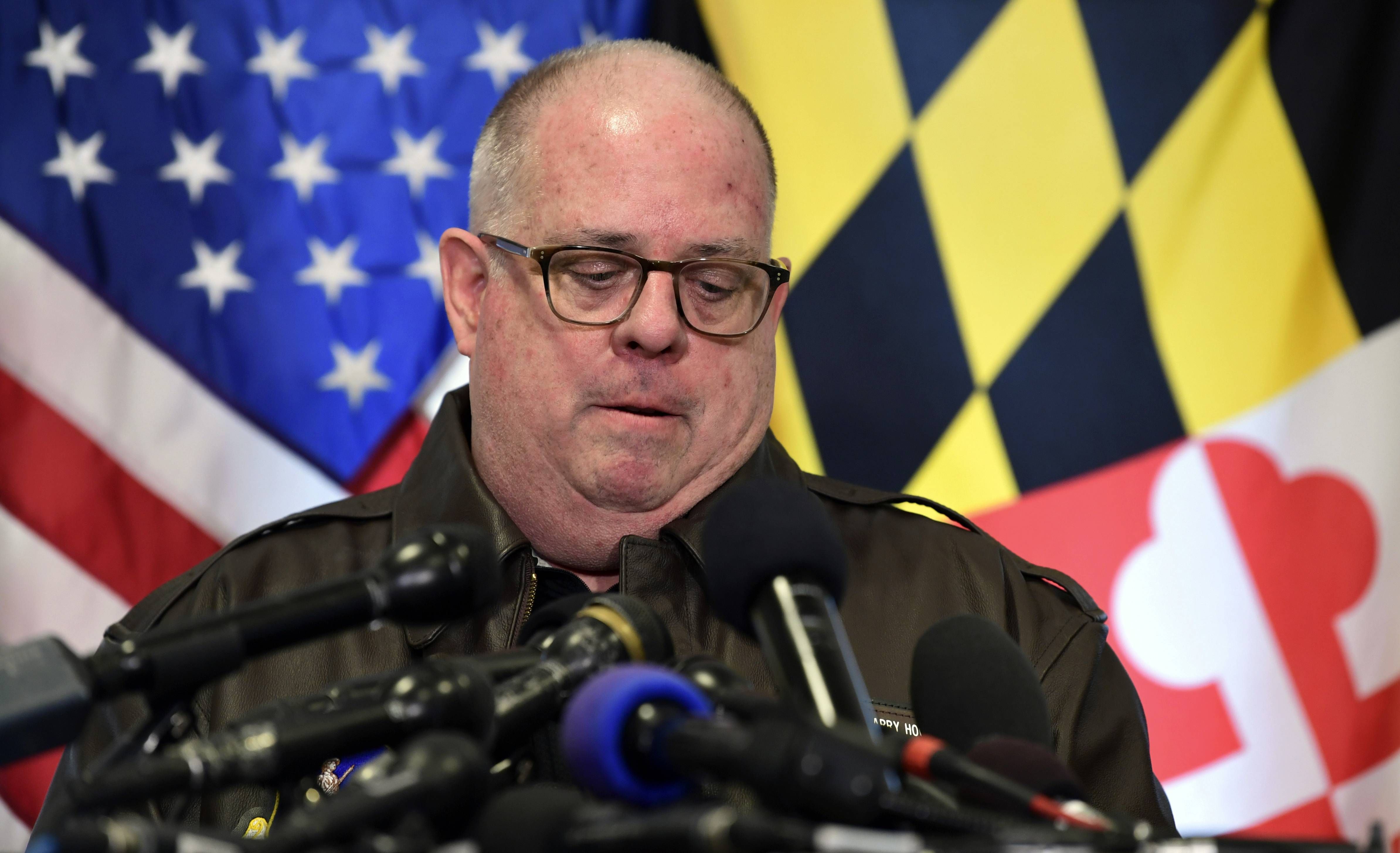 Maryland Gov. Larry Hogan pauses Tuesday as he speaks about the shooting at Great Mills High School in Great Mills, Maryland.