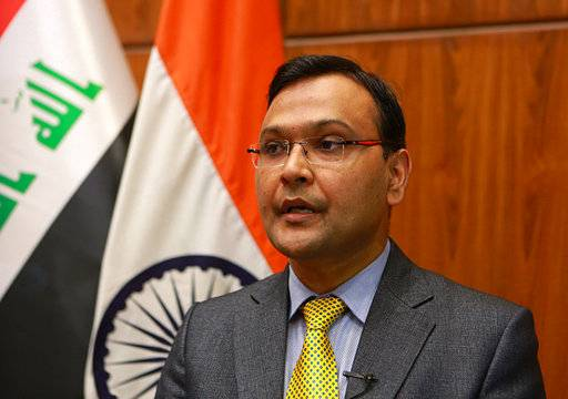 Pradeep Singh Rajpurohit, India's Ambassador to Iraq, speaks during an interview with The Associated Press in Baghdad, Iraq, Tuesday, March 20, 2018. The Head of Iraq's Martyrs Establishment said Tuesday, that the bodies of 38 of the 39 Indians abducted by the Islamic State group in 2014 were found in a mass grave outside Mosul.