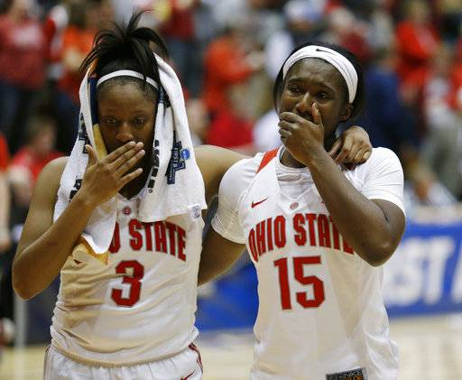 Ohio State guard Kelsey Mitchell, left, and guard Linnae Harper react to a second-round game loss to Central Michigan in the NCAA women's college basketball tournament in Columbus, Ohio, Monday, March 19, 2018.