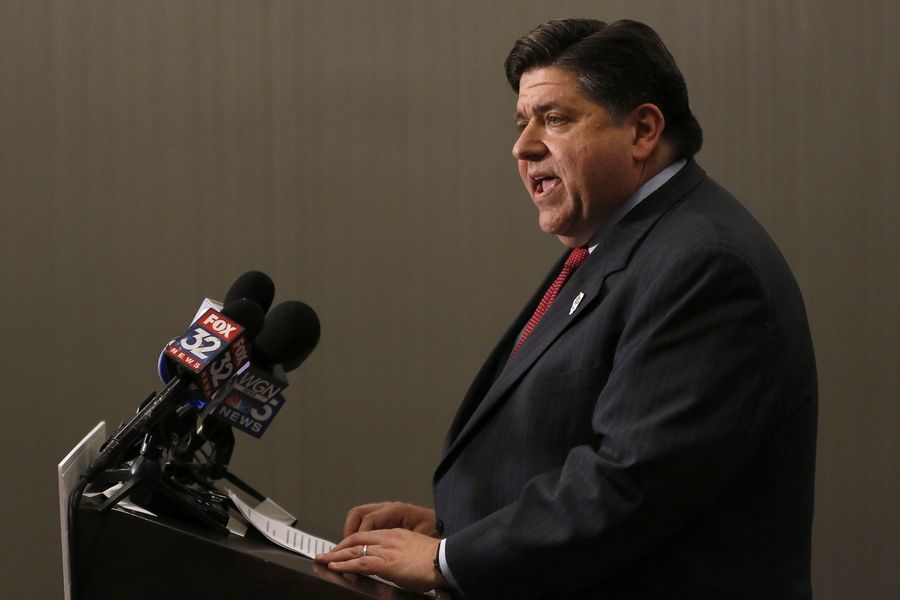 JB Pritzker, talks during a news conference Wednesday at the Marquis Chicago, Glessner House in Chicago.