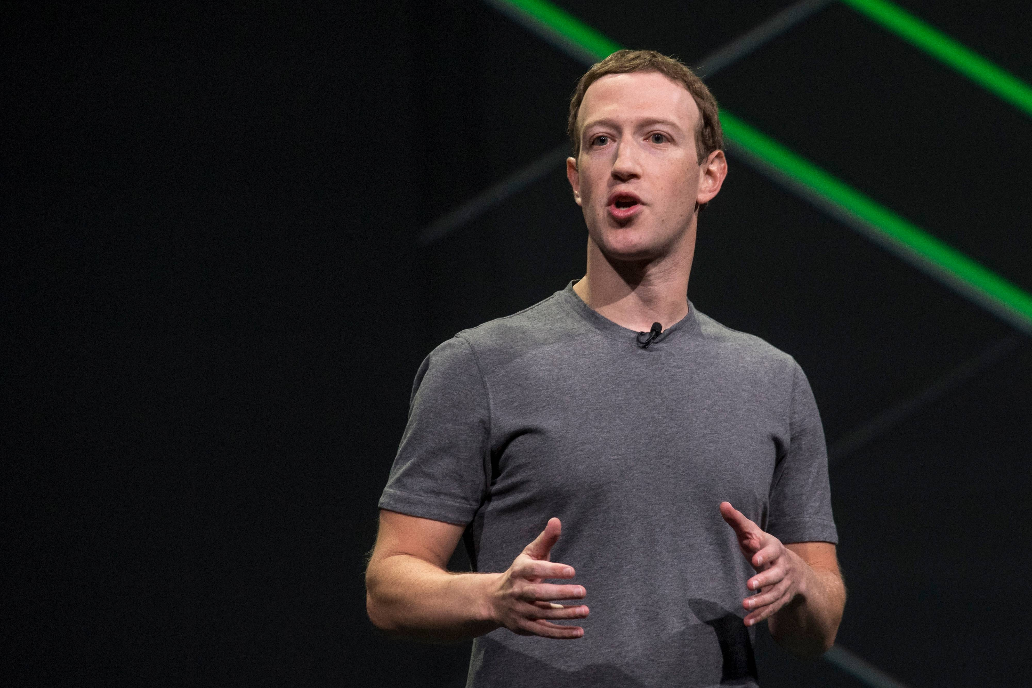 Facebook CEO Mark Zuckerberg speaks during the Oculus Connect 4 product launch event in San Jose, California, in 2017.