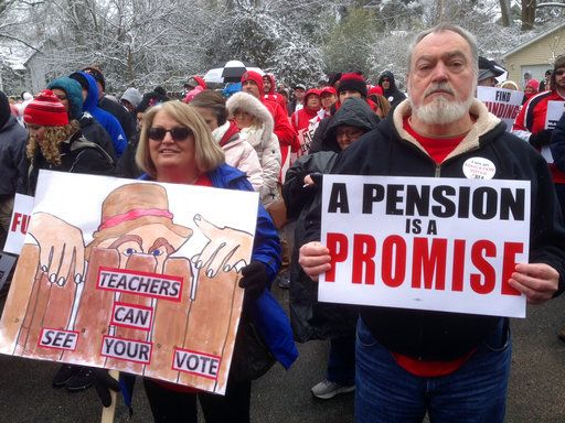 Hundreds of Kentucky teachers rally to oppose benefit cuts