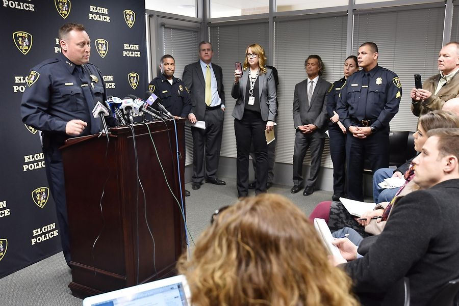 Elgin Police Chief Jeff Swoboda speaks with reporters at a news conference to release the video of a fatal police shooting Thursday at the Elgin Police Department.