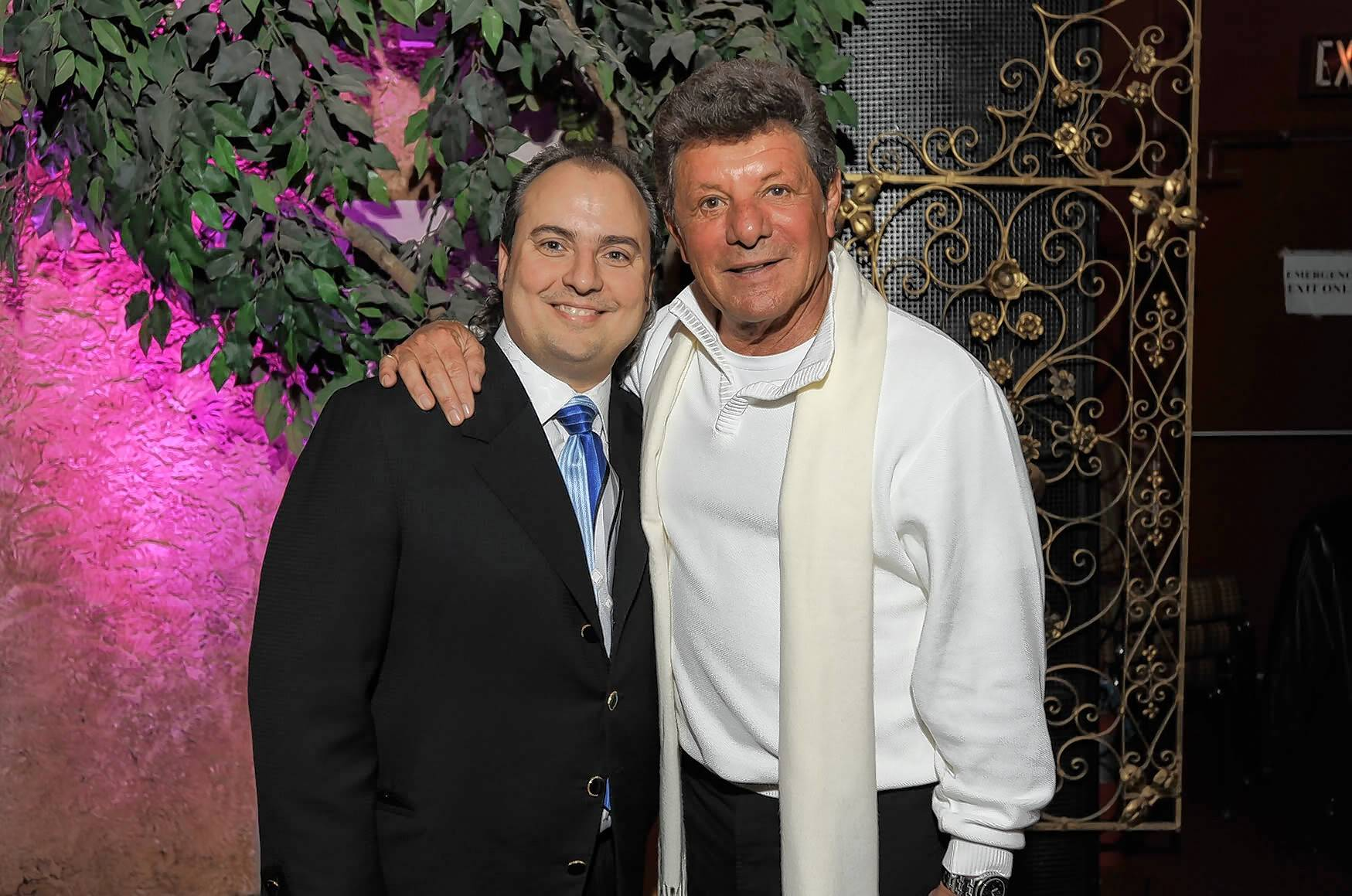 Frankie Avalon, right, performed at the Arcada Theatre in St. Charles last week, and before the show chatted with owner Ron Onesti.