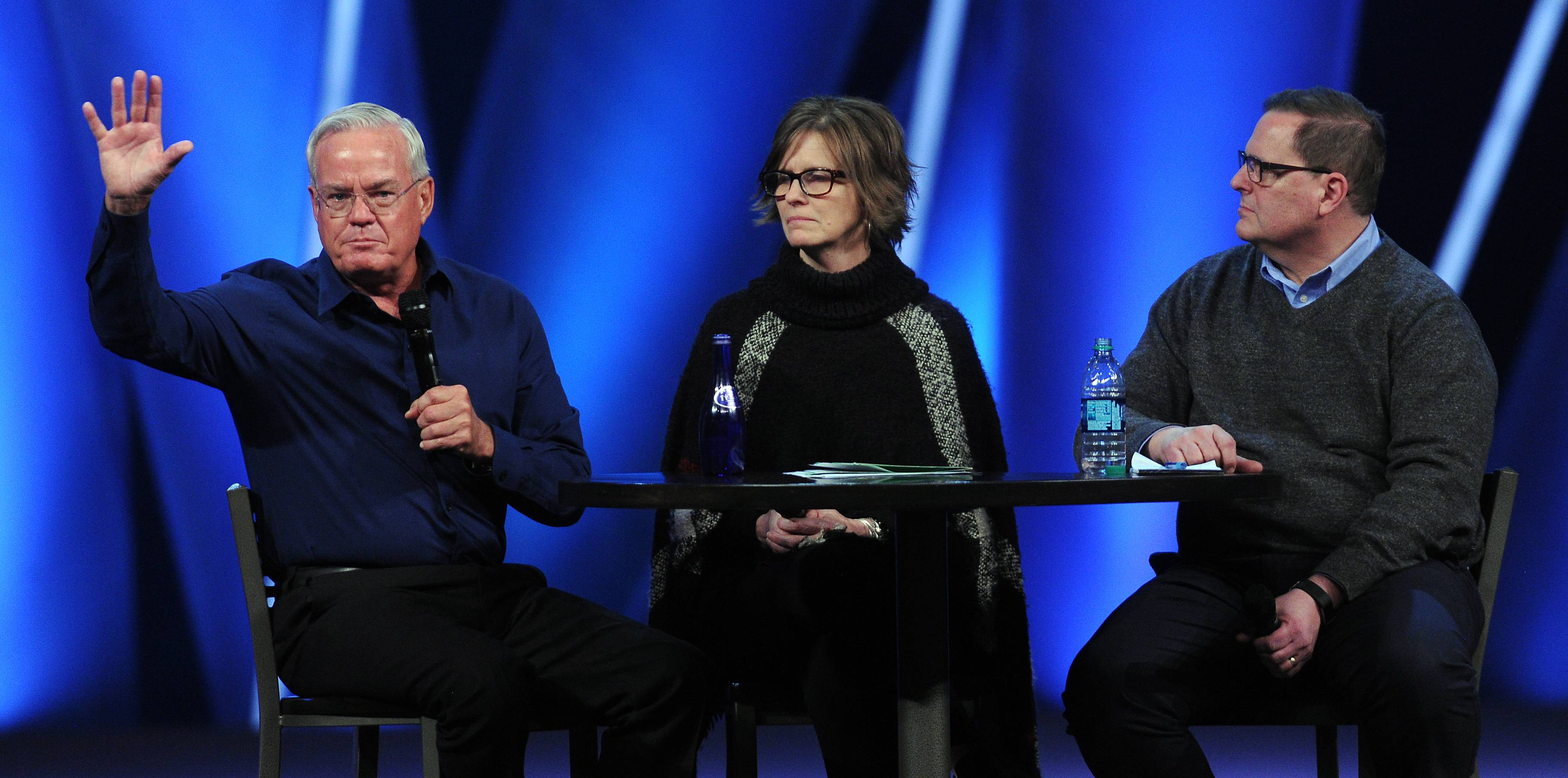 Willow Creek senior pastor Bill Hybels, left, says allegations of misconduct are part of a smear campaign.