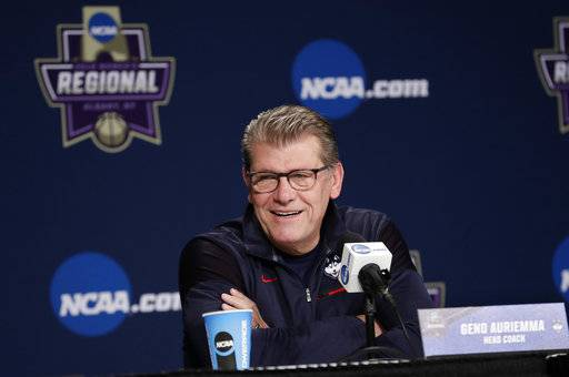 Connecticut head coach Geno Auriemma speaks during a press conference at the NCAA women's college basketball tournament, Friday, March 23, 2018, in Albany, N.Y. UConn faces Duke in a regional semifinal on Saturday. (AP Photo/Frank Franklin II)