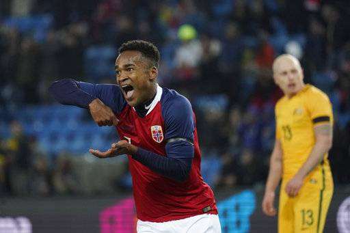 Ola Kamara of Norway celebrates after scoring his third of Norway's four goals, in action during their friendly soccer match, in Oslo, Norway, Friday March 23, 2018. (Cornelius Poppe/NTB scanpix via AP)