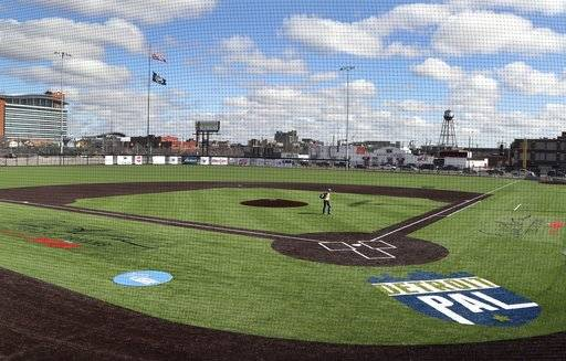 A new baseball diamond is seen at the site of the former Tiger Stadium, Friday, March 23, 2018 in Detroit. The Detroit corner that has been a stage for many of baseball's greatest players now will host youth games, events and other programs for young people. The facility also is headquarters for the nonprofit Detroit Police Athletic League and features the Willie Horton Field of Dreams, named after the former player who helped the Tigers win the 1968 World Series. (AP Photo/Carlos Osorio)