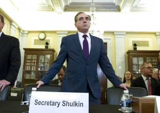 Veterans Affairs Secretary David Shulkin arrives to testify on veterans programs before the Senate Committee on Veterans Affairs at Capitol Hill, Wednesday, March 21, 2018, in Washington.