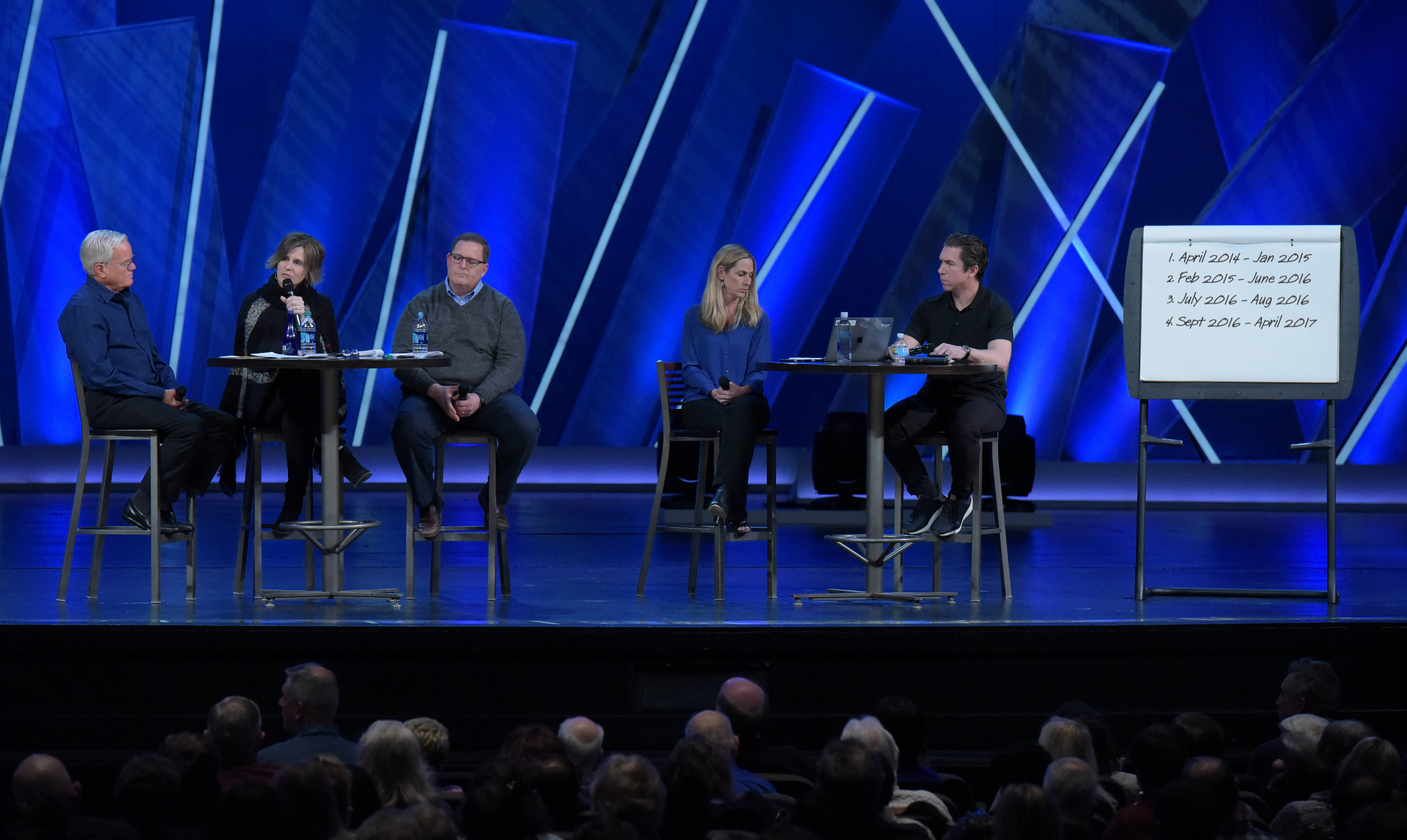The Rev. Bill Hybels; Pam Orr, Chair of Willow Creek Elder Board; Rob Campbell, Lead Pastor Willow Chicago; Heather Larson, Executive Pastor; and Steve Carter, Teaching Pastor; speak during a Willow Creek Community Church family conversation on Monday to discuss the investigation of misconduct accusations against the Rev. Hybel.