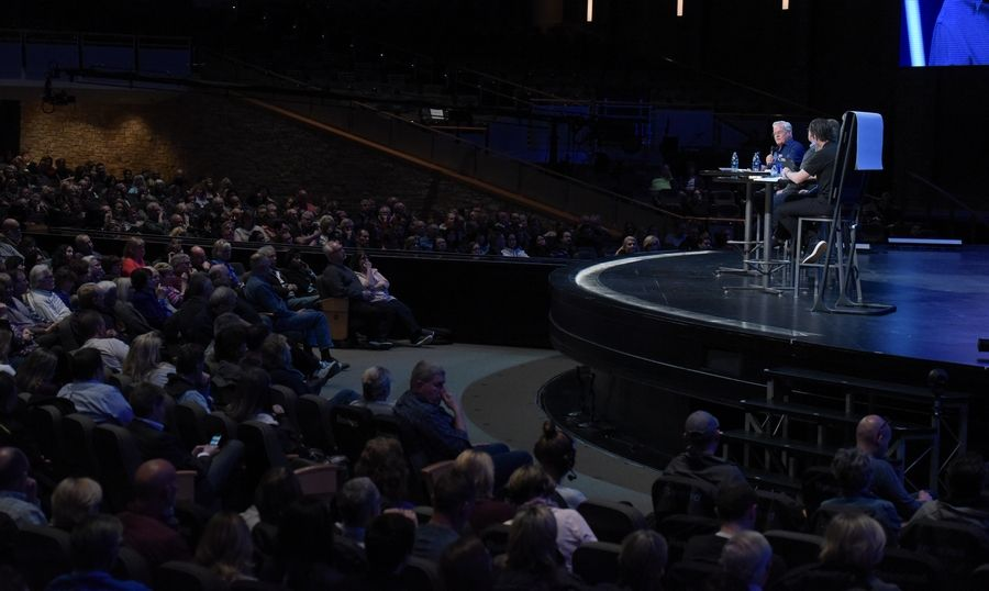 The Rev. Bill Hybels speaks during a Willow Creek Community Church family conversation on Monday in South Barrington to discuss misconduct allegations against him. Hybels has said the accusations are part of a smear campaign.