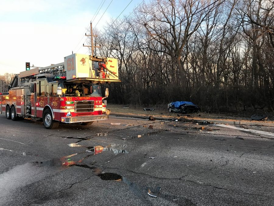 Authorities responded Sunday to a crash at the intersection of Golf and Rand roads in Des Plaines where three family members died. A 16-year-old boy who survived the crash remains hospitalized.