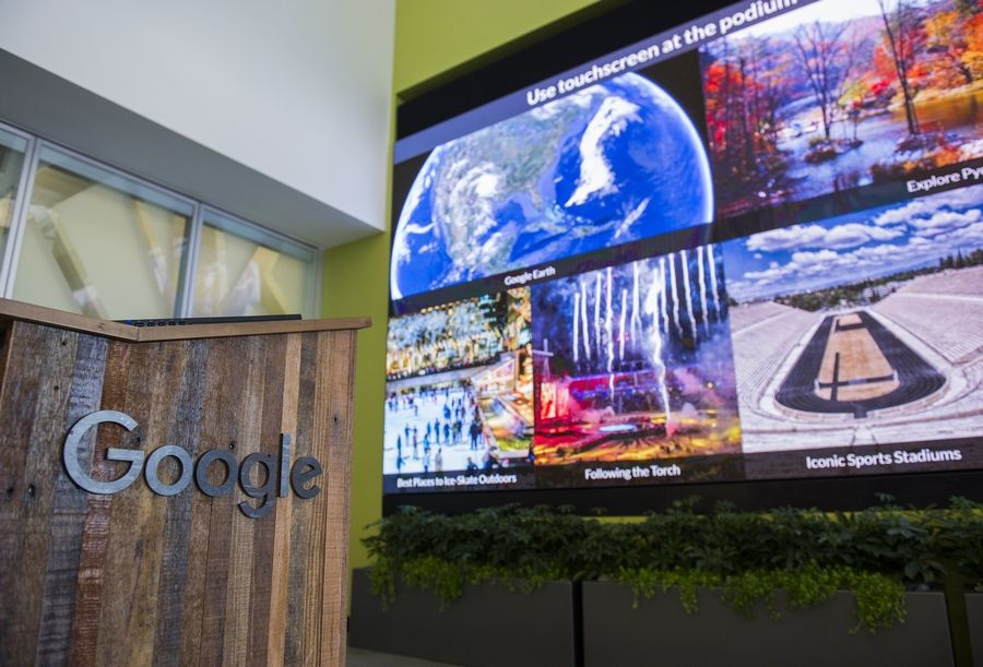 An interactive touch screen stands in the lobby of the new Google campus in Boulder, Colorado, on Feb. 21, 2018.