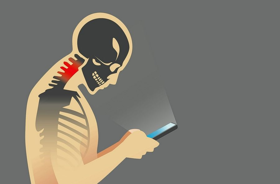 """Tech neck"" refers to the upper back, shoulder and neck pain people feel after extended periods of looking down at handheld devices."