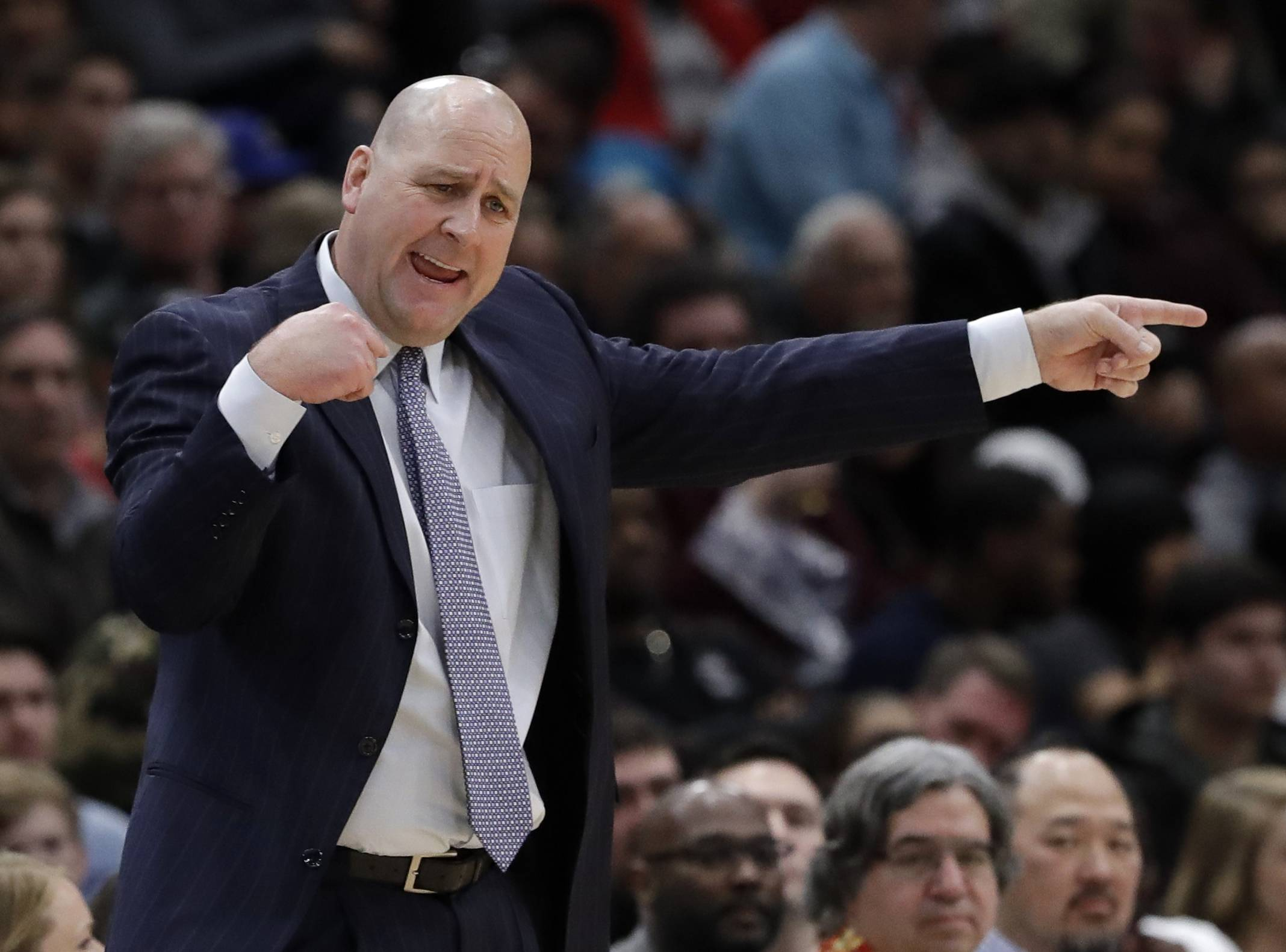 Chicago Bulls associate head coach Jim Boylen, who filed in for Fred Hoiberg on Sunday, says Zach LaVine's defense will get better with a full training camp next season.