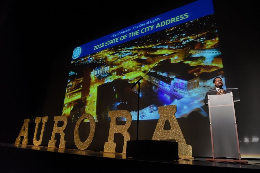 Mayor Richard Irvin's first State of the City address was hosted by three Aurora chambers of commerce.
