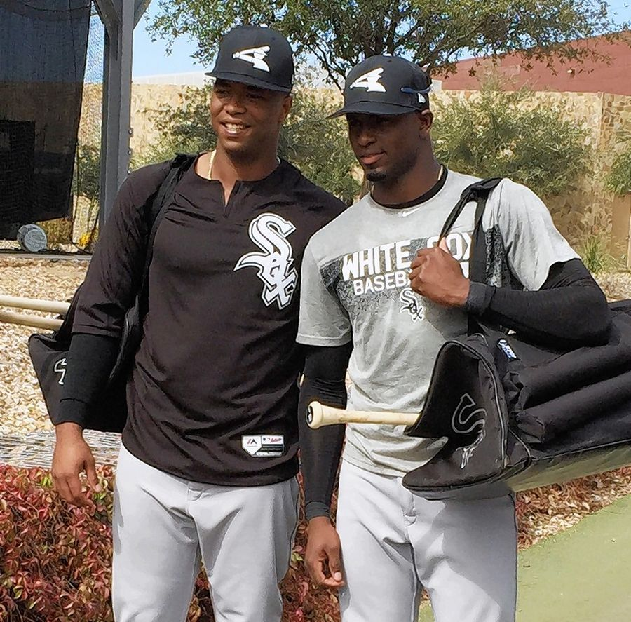 White Sox prospects Eloy Jimenez, left, and Luis Robert are two key figures in the team's rebuilding project.