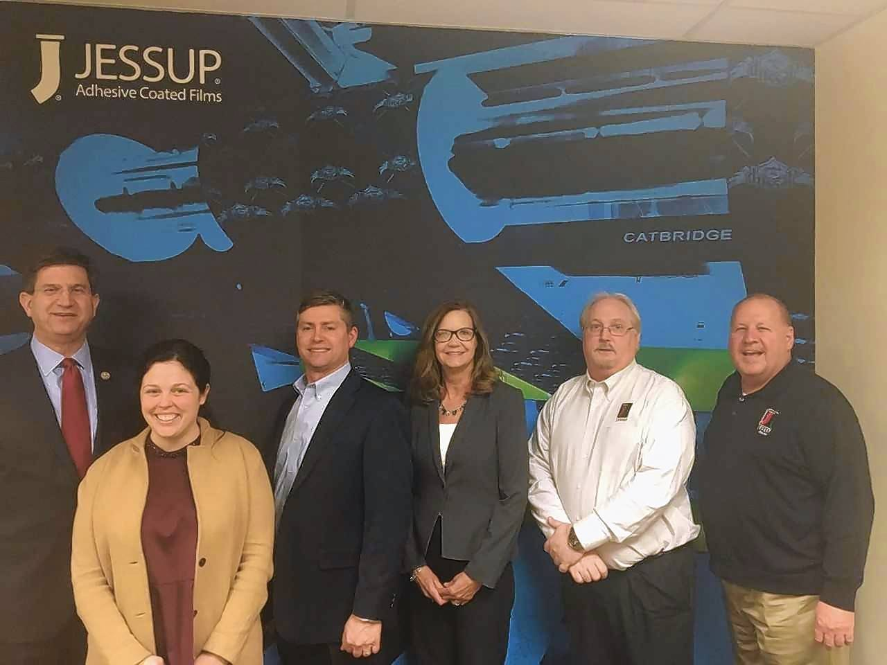Congressman Brad Schneider; Magen Ryan, district director at the office of Congressman Schneider; and Jessup employees Rick Brizek, vice president operations; Kelly Jorgenson, human resources manager; Wesley Burgeson, director of finanace; Al Carlson, director of government sales.