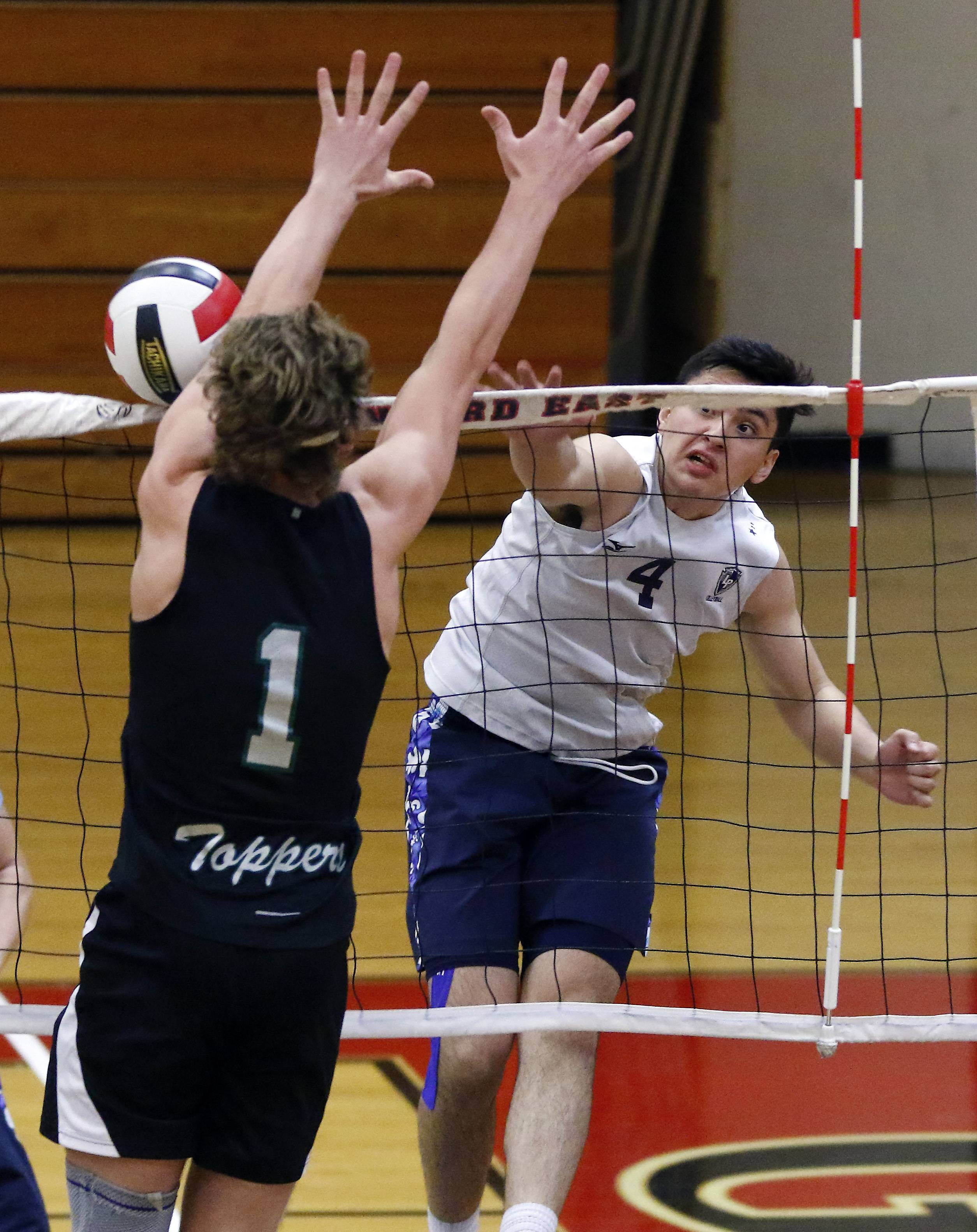 Lake Park's Jordan Haigh hits a shot against Glenbard West's Ben Harrington during the Springfest boys volleyball tournament Saturday at Glenbard East High School in Lombard.
