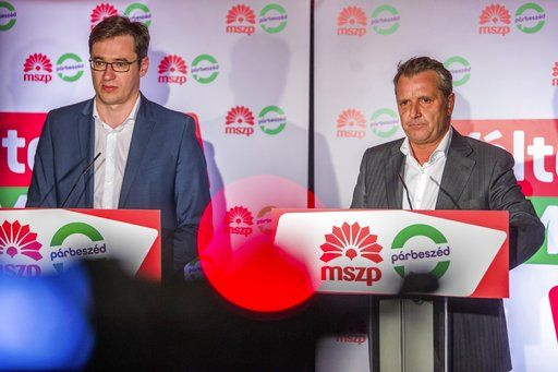 Co-Chairperson of the Dialogue for Hungary party and candidate prime minister of the Hungarian Socialist Party (MSZP) Gergely Karacsony, left, and Chairman of MSZP Gyula Molnar concede their parties' defeat at the election night watch event after the general elections in Budapest, Hungary, early Monday, April 9, 2018. (Zoltan Balogh/MTI via AP)