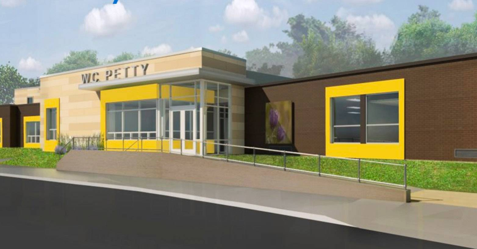 A rendering of an upgraded W.C. Petty school in Antioch District 34.