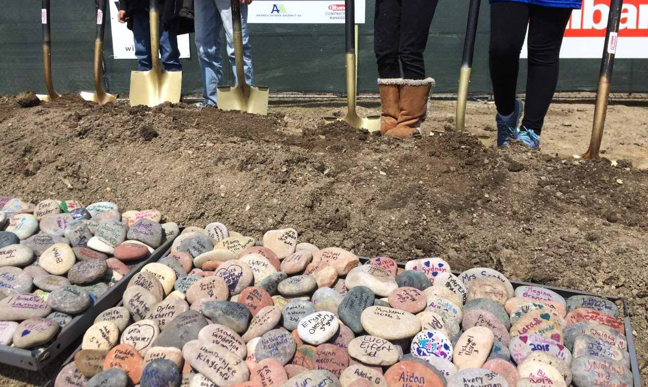 Antioch District 34 officials held groundbreaking ceremonies Tuesday for the expansion of W.C. Petty and Oakland schools. Students signed the rocks at Oakland Elementary School in Lake Villa.
