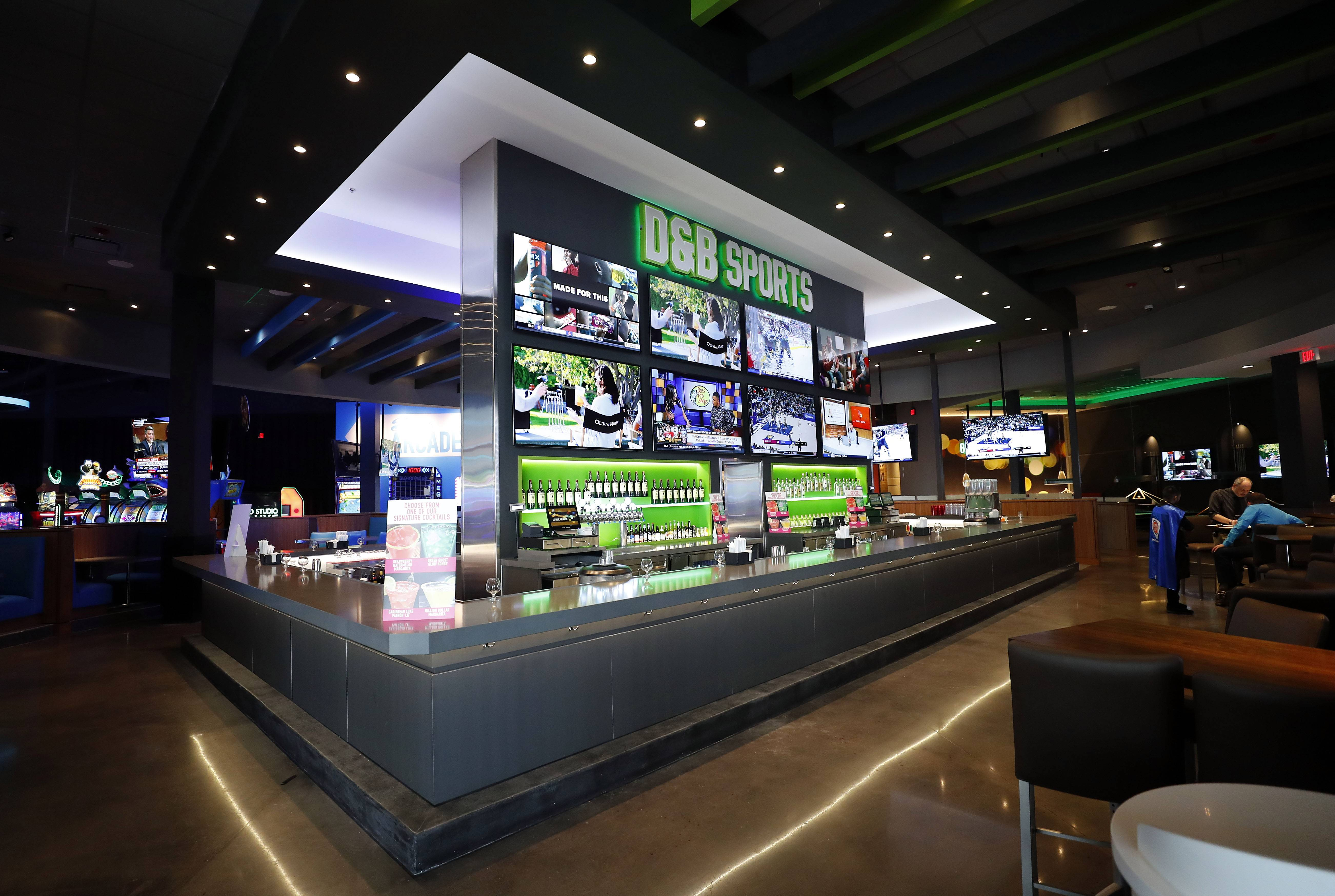 The sports bar at the new Dave & Buster's location in Rosemont features about 30 TVs. The bar has the major sports packages and will also show pay-per-view events.