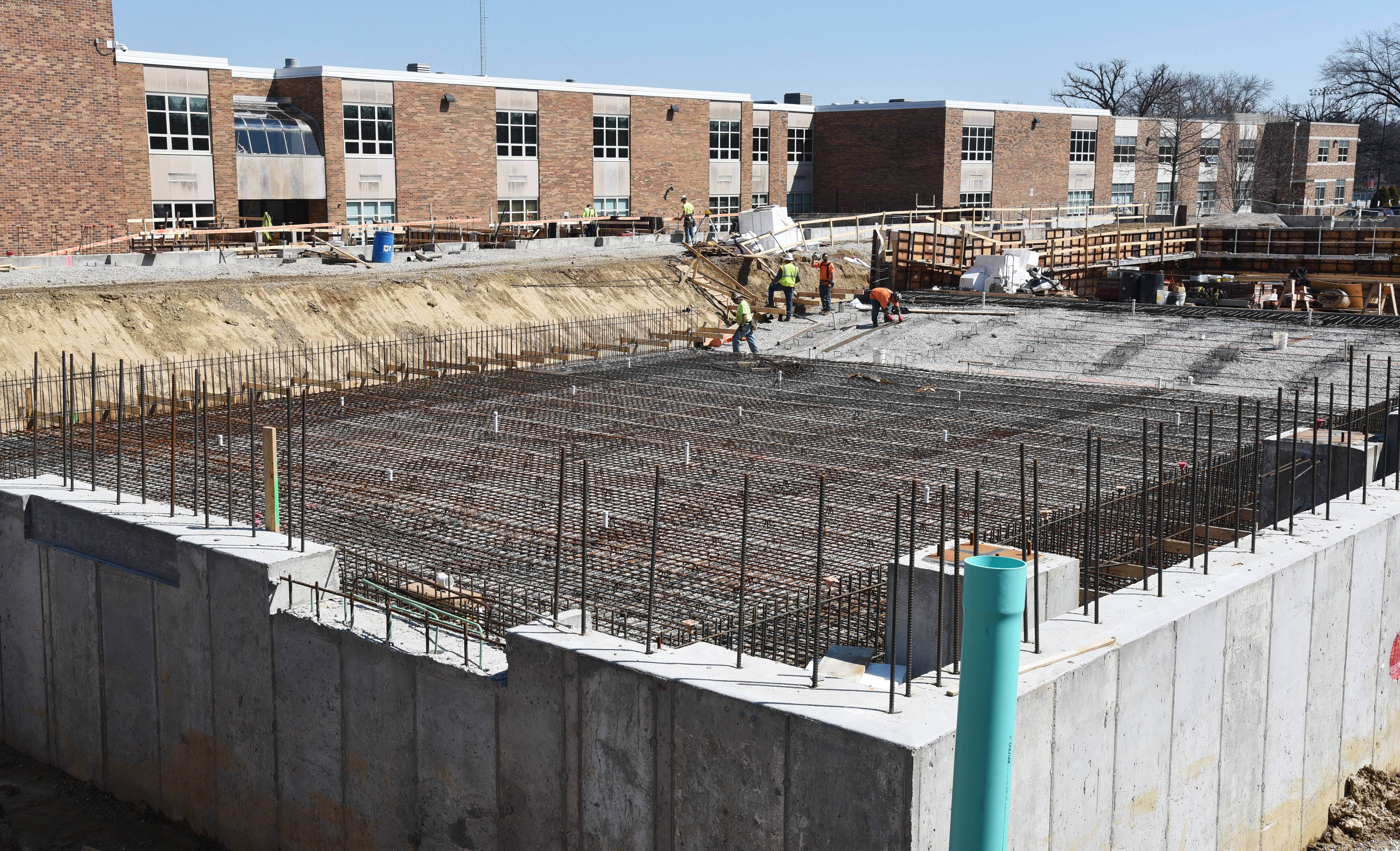Construction of a new indoor swimming pool at Libertyville High School is continuing smoothly. The $21.5 million project is on budget and still expected to be completed as scheduled in spring 2019.
