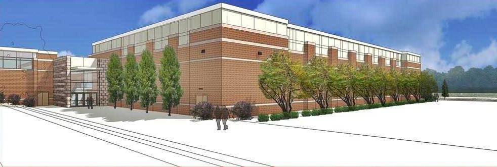 A rendering shows the exterior of the swimming pool facility being built at Libertyville High School.