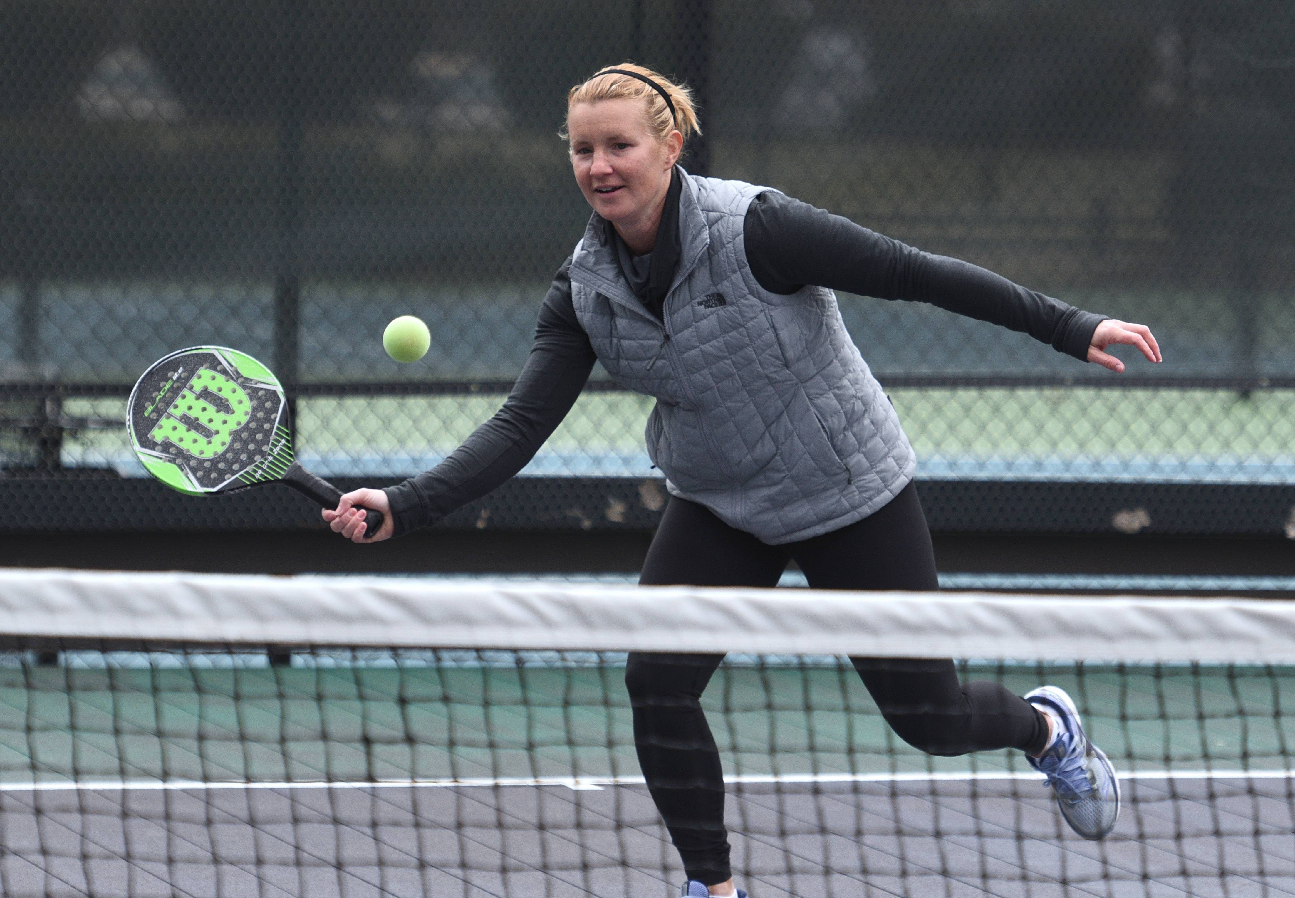 Platform tennis player Alison Morgan of Lake Bluff plays at the Birchwood Club in Highland Park.