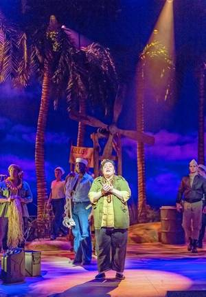 """The merchant Bloody Mary (Yvonne Strumecki) sings """"Bali Ha'i"""" in Rodgers and Drury Lane's production of """"South Pacific."""""""