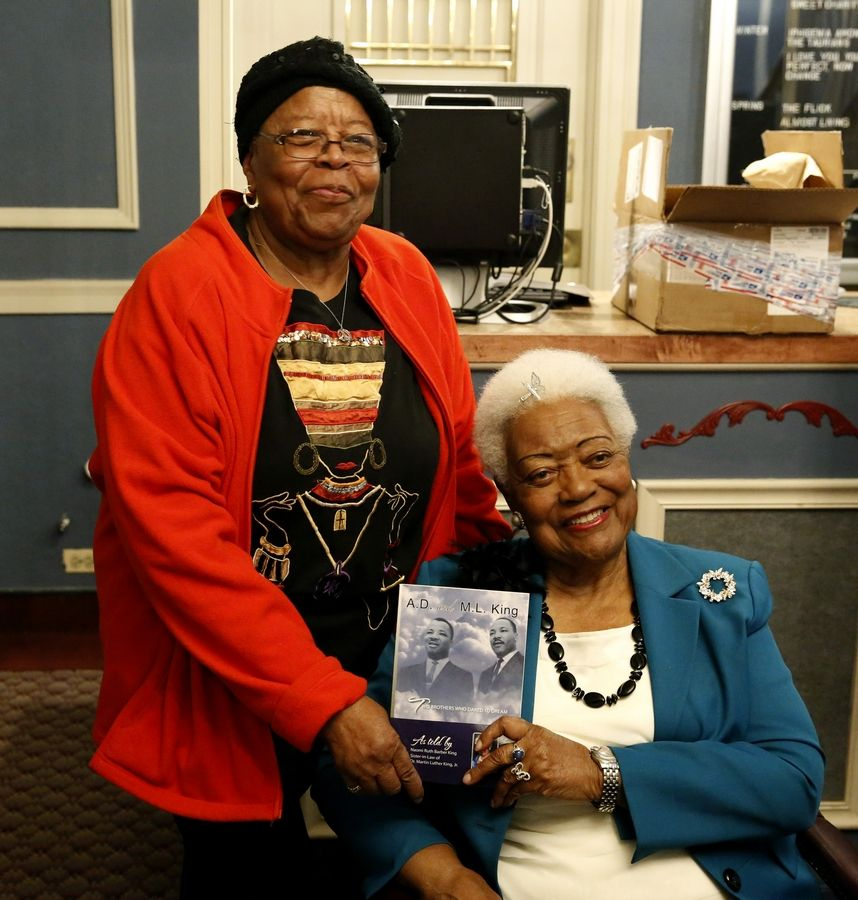 Naomi Ruth Barber King, a civil rights activist and sister-in-law of Rev. Martin Luther King Jr., poses with Georgia Stenson of Lombard, left, who marched with Dr. King in Chicago.