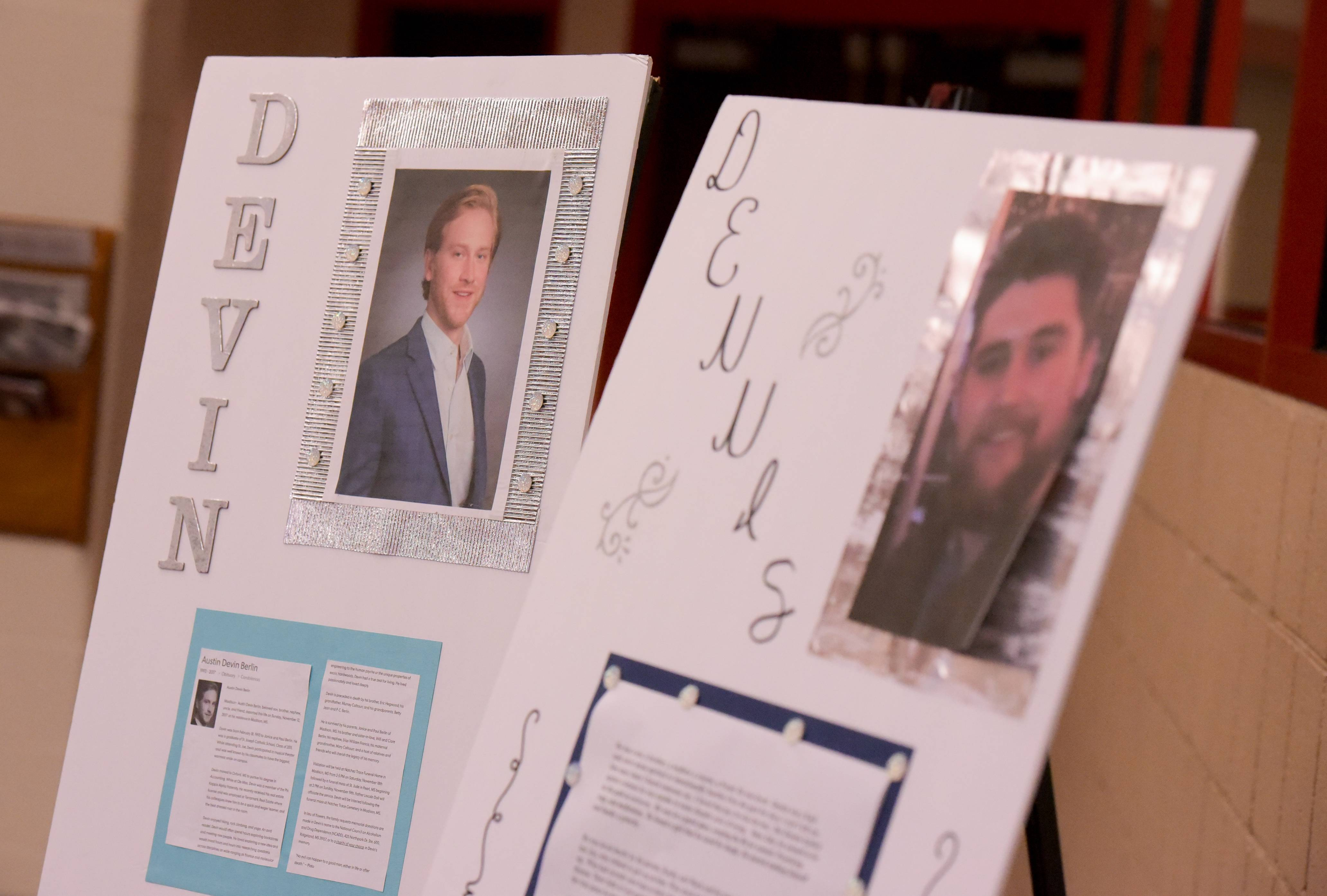"Memory boards for Devin Berlin and Dennis Raber, who died of drug overdoses, were on display Sunday at the ""Dink for Hope"" pickleball tournament at the Wheeling Community Recreation Center."